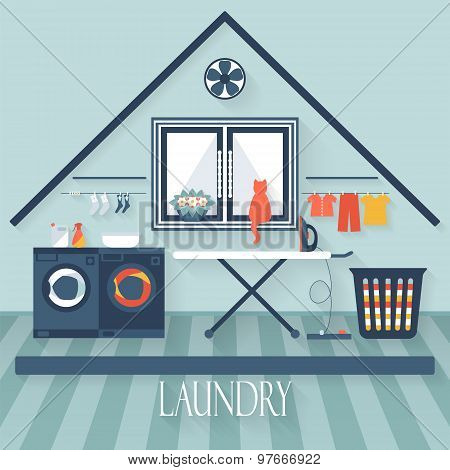 Laundry Room With Washing Machine, Ironing Board And Window. Flat Style Vector Illustration.