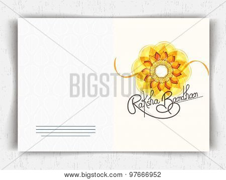 Greeting card design decorated with floral rakhi for Indian festival Raksha Bandhan celebration.