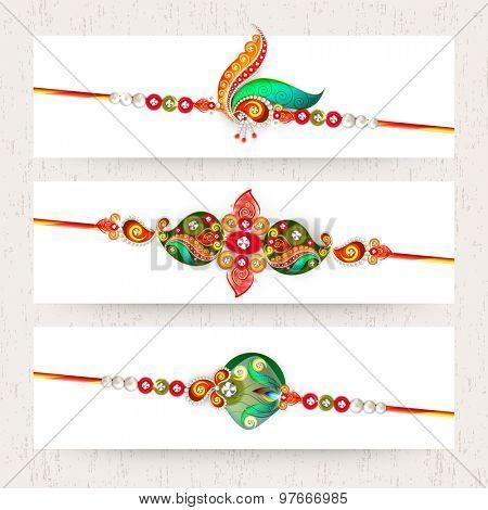 Website header or banner set decorated by colorful rakhi for Raksha Bandhan celebration.