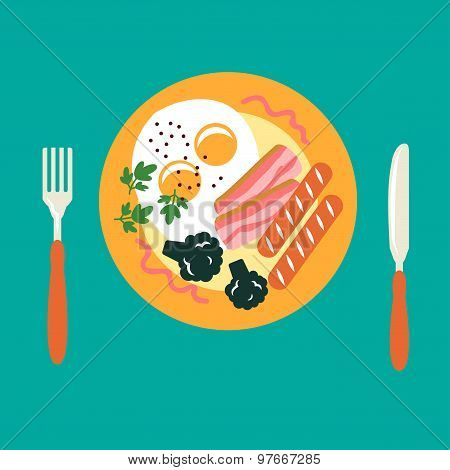 Breakfast with eggs, sausage, bacon, broccoli