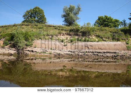 river bank against a blue sky