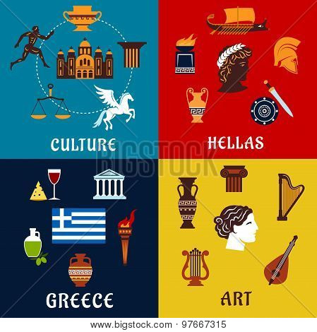 Culture, art and history icons of Greece