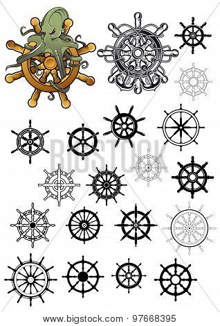 Heraldic nautical isolated helms set