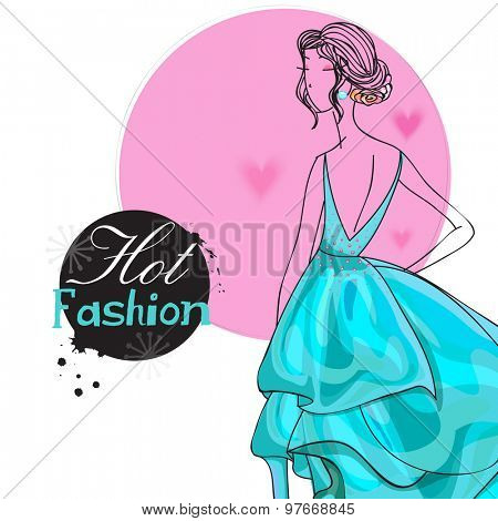 Young fashionable girl in beautiful gown for Hot Fashion on stylish hearts decorated background.