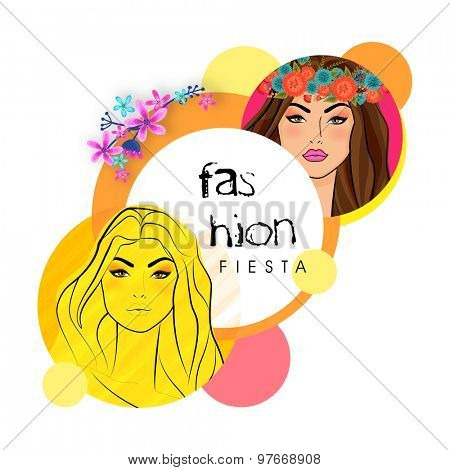Sticker, tag or label with young fashionable girls in retro fashion on flowers and abstract design background.