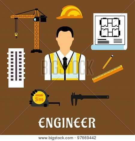 Engineer and construction flat icons
