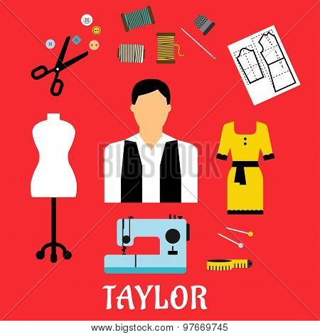 Tailor with sewing flat icons