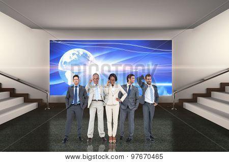 Business team against grey room