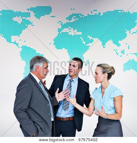 Business people having a disagreement against green world map on white background