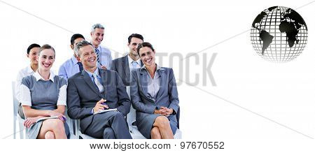 business team during a meeting against silver earth