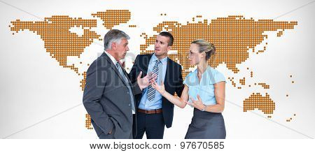 Business people having a disagreement against orange world map on white background