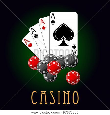Casino symbols wit cards and chips