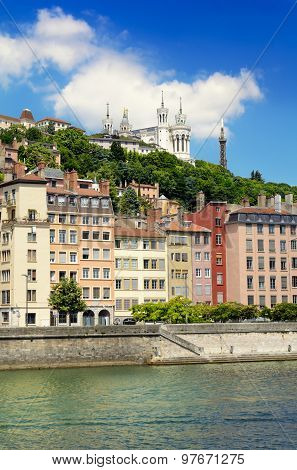 Fourviere Basilica And Saone River By A Sunny Day, Lyon, France