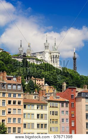 Fourviere Basilica By A Sunny Day, Lyon, France