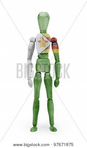 Wood Figure Mannequin With Flag Bodypaint - Zimbabwe