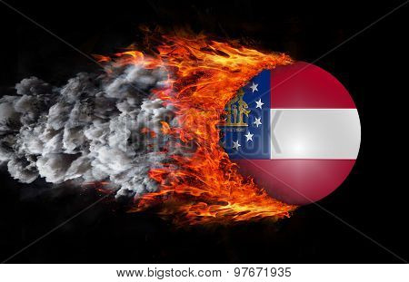 Flag With A Trail Of Fire And Smoke - Georgia