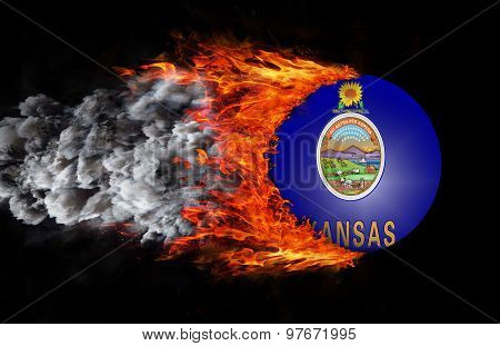Flag With A Trail Of Fire And Smoke - Kansas