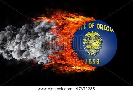 Flag With A Trail Of Fire And Smoke - Oregon