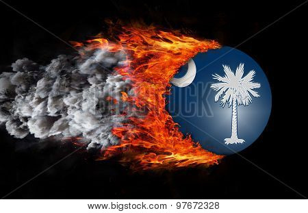 Flag With A Trail Of Fire And Smoke - South Carolina
