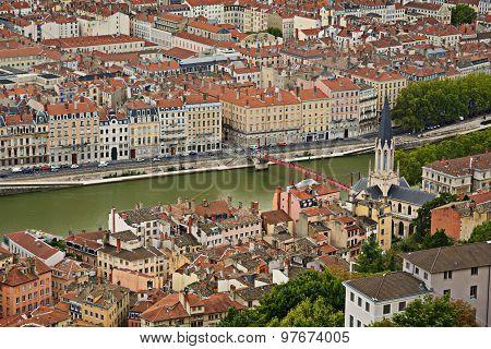 Saone's River And Church, Lyon, France