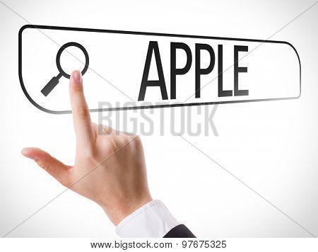 Apple written in search bar on virtual screen