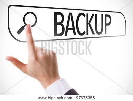 Backup written in search bar on virtual screen
