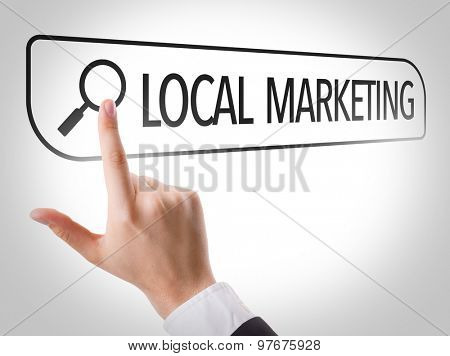 Local Marketing written in search bar on virtual screen