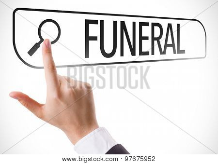 Funeral written in search bar on virtual screen
