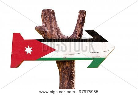 Jordan Flag wooden sign isolated on white background