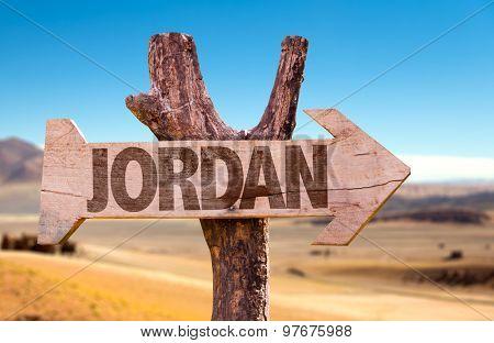 Jordan wooden sign with desert background