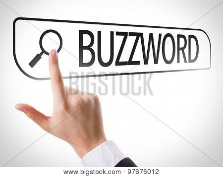 Buzzword written in search bar on virtual screen