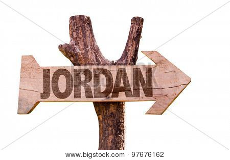 Jordan wooden sign isolated on white background