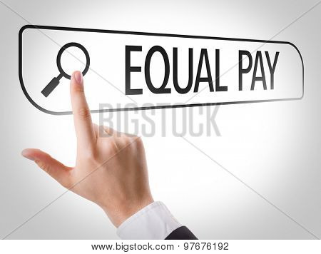 Equal Pay written in search bar on virtual screen