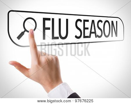 Flu Season written in search bar on virtual screen