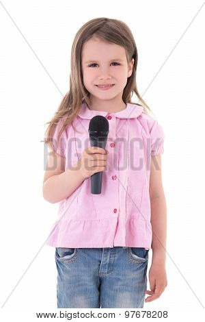 Music Concept - Cute Little Girl With Microphone Isolated On White