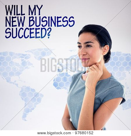 Thoughtful businesswoman looking away against background with world map