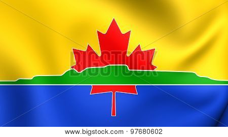 Flag Of Thunder Bay City, Canada. Close Up.