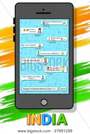 illustration of Happy Independence Day message in social media application
