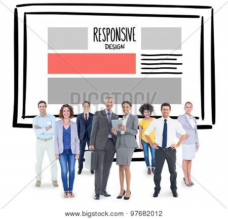 Business team against responsive design doodle