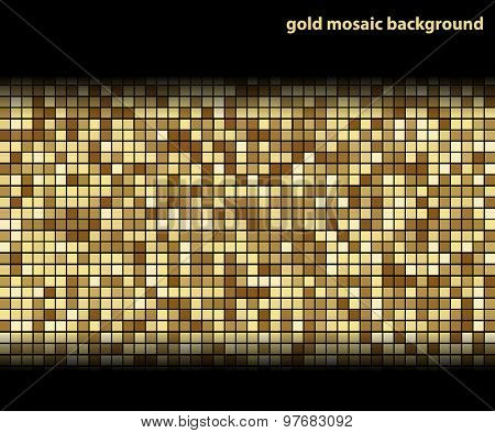 Gold Mosaic Background, on black Background. Abstract Illustration. Vector EPS10.