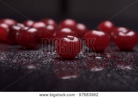 Sour Cherries With Water Drops