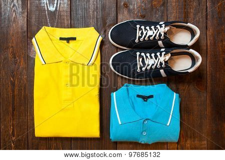 Men's Set : Polo And Running Shoes