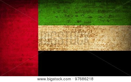 Flags United Arab Emirates With Dirty Paper Texture. Vector