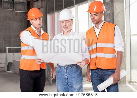 Cheerful builders are discussing their new project