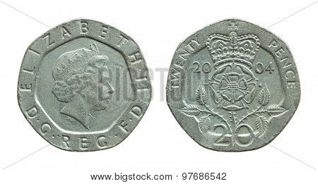 British Twenty Pence Coin Isolated On White With Clipping Path
