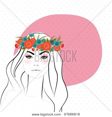 Young fashionable girl in wreath with space for your wishes or message on white background.