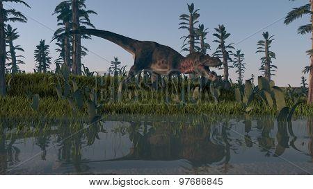 tarbosaurus roaring on shore