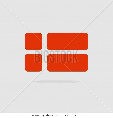 Denmark Flag, A Stylized Flag Danish Of Geometrical Elements. Vector Illustration
