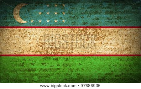 Flags Uzbekistan With Dirty Paper Texture. Vector
