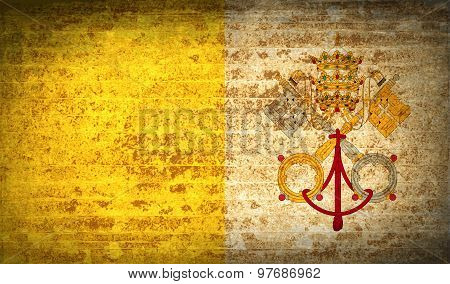 Flags Vatican Cityholy See With Dirty Paper Texture. Vector